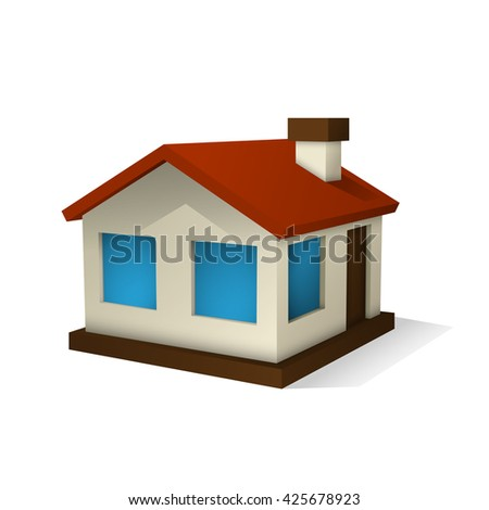 Vector illustration of small house with white background