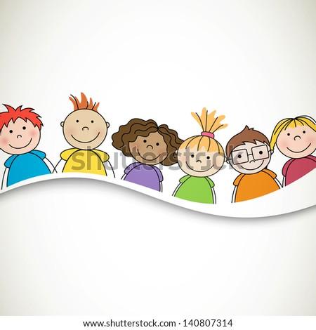 Vector Illustration of Small Kids - stock vector