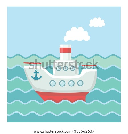 Vector illustration of small steamship  in the waves