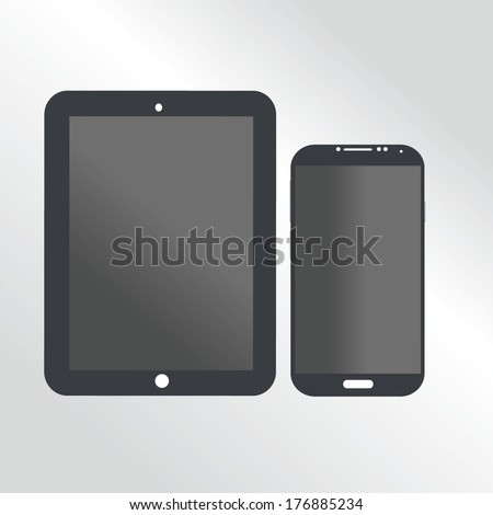 Vector illustration of Smart Phone and a tablet with black and white color  style - stock vector