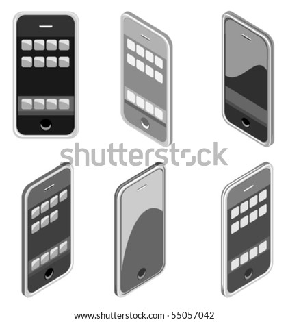 Vector illustration of smart phone in different styles - stock vector