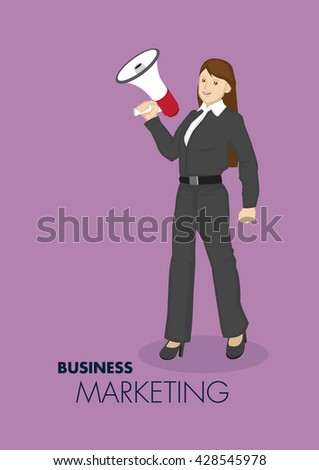 Vector illustration of smart young cartoon businesswoman holding hand-held megaphone for business marketing and promotion concept isolated on plain purple background. - stock vector