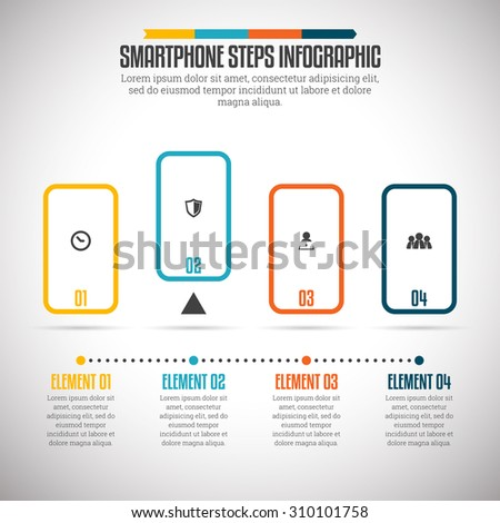 Vector illustration of smartphone steps infographic design element. - stock vector