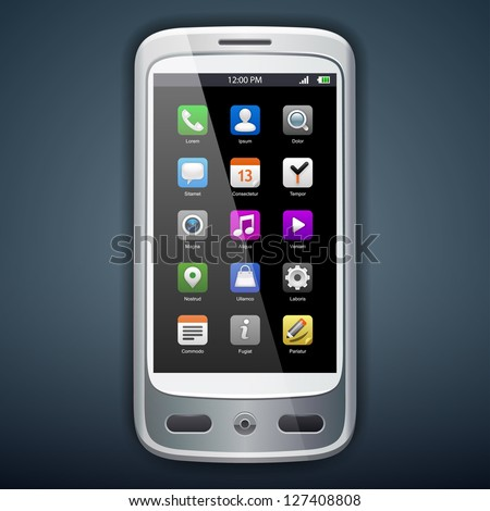Vector illustration of smartphone with icons. Eps 10. - stock vector