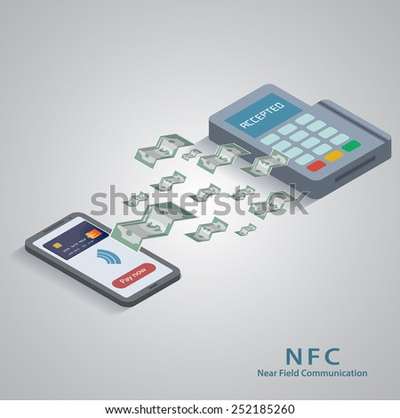 Vector illustration of smartphone with nfc function and mobile tag. - stock vector