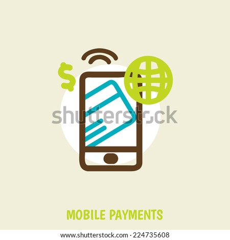 vector illustration of  smartphone with processing of mobile payments from credit card on the screen. technology concept. - stock vector