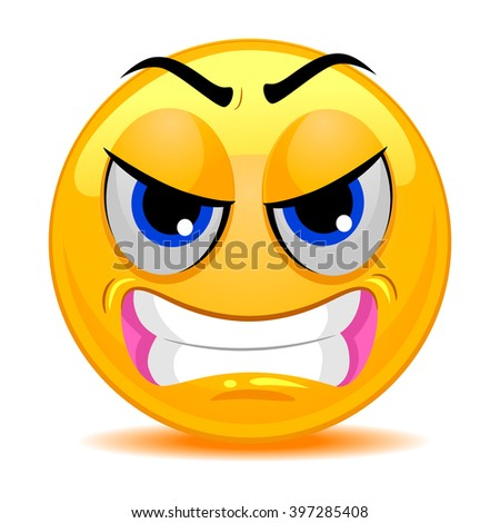 Vector Illustration of Smiley Emoticon Angry Face - stock vector
