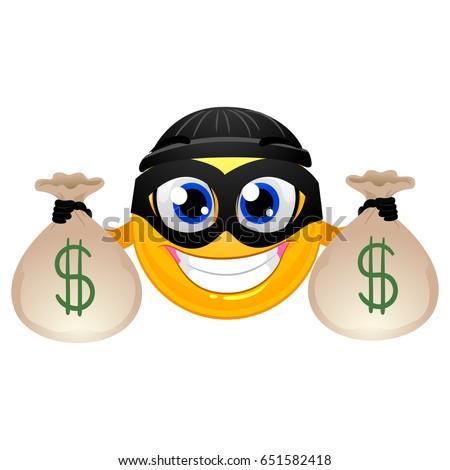 Illustration Smiley Mascot Holding Sacks Full Stock Vector ... |Smiley Face Holding Money