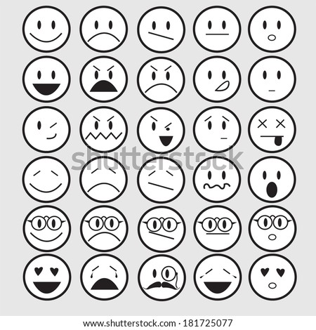 vector illustration of smiley faces emotions