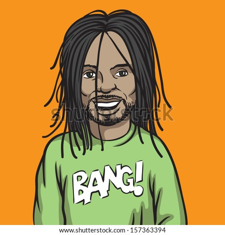 Vector illustration of smiling black man with dreadlocks. Easy-edit ...
