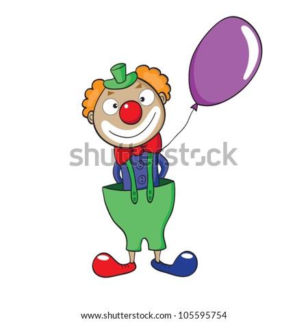 Vector illustration of smiling cartoon clown with balloon. - stock vector