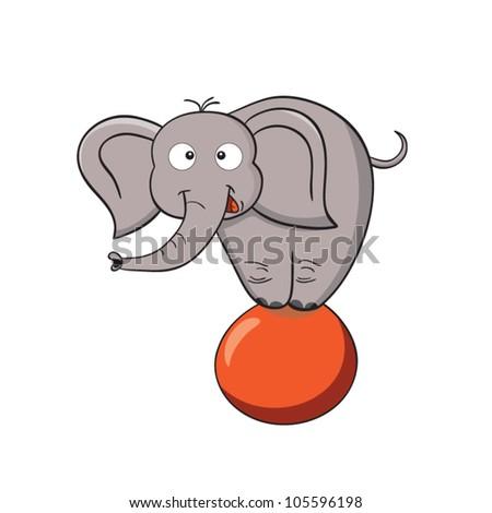 Vector illustration of smiling cartoon elephant on a ball. - stock vector