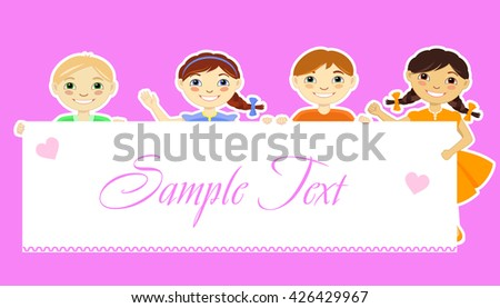 Vector illustration of smiling children holding placard