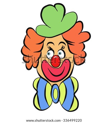 Vector illustration of smiling clown with yellow blue bow - stock vector