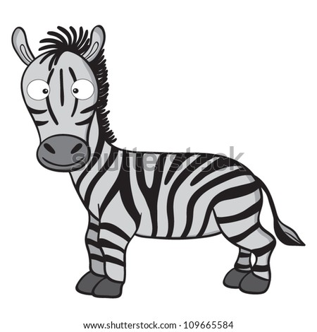 Vector illustration of smiling cute cartoon zebra. - stock vector