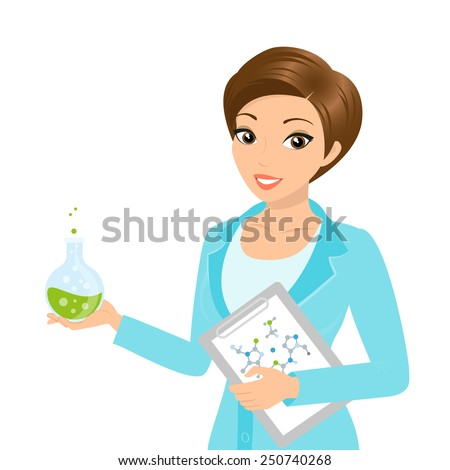 Vector illustration of smiling female chemist with a folder in her hand - stock vector