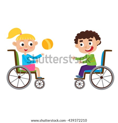 Vector illustration of smiling little boy and girl in a wheelchair playing with ball isolated on white. Cartoon happy disabled curly haired boy and blond girl - stock vector