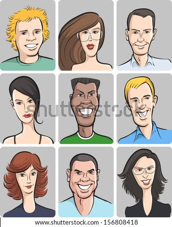 Vector illustration of smiling men and women faces collection. Easy-edit layered vector EPS10 file scalable to any size without quality loss. High resolution raster JPG file is included. - stock vector