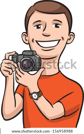 Vector illustration of Smiling photographer. Easy-edit layered vector EPS10 file scalable to any size without quality loss. High resolution raster JPG file is included. - stock vector