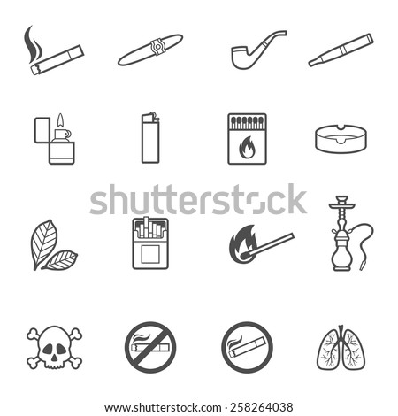Vector illustration of smoking line style icons set - stock vector