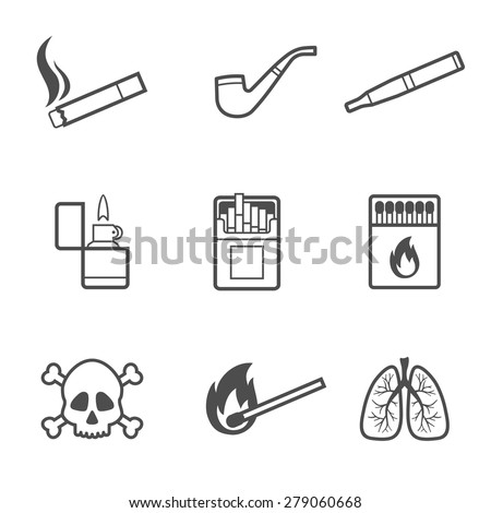 Vector illustration of smoking line style icons set. 9 elements - stock vector