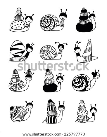 Vector Illustration of snails with different shells on a white background - stock vector