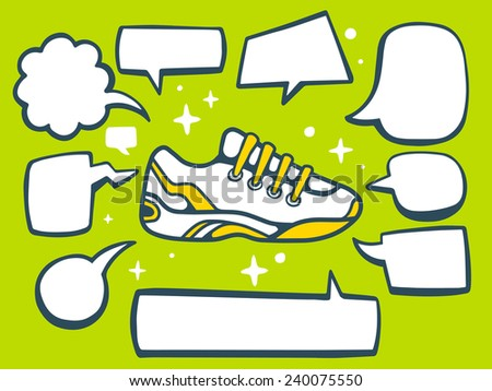 Vector illustration of sneaker with speech comics bubbles on green background. Line art design for web, site, advertising, banner, poster, board and print. - stock vector