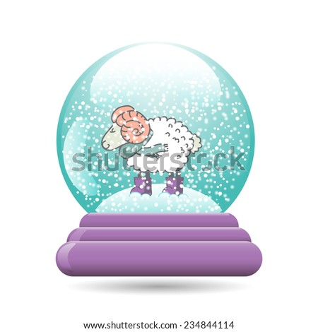 Vector illustration of snow ball with a Christmas sheep, isolated on white background