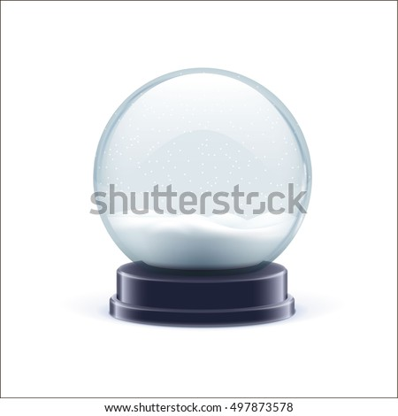 vector illustration of snow globe ball  realistic new year chrismas object isolated on white with shadow