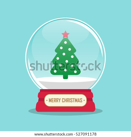 vector illustration of snow globe with christmas tree inside.EPS
