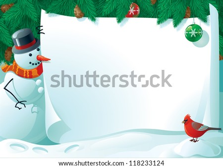 Vector illustration of snowman and cardinal bird with empty blank on horizontal background with christmas fir tree. - stock vector