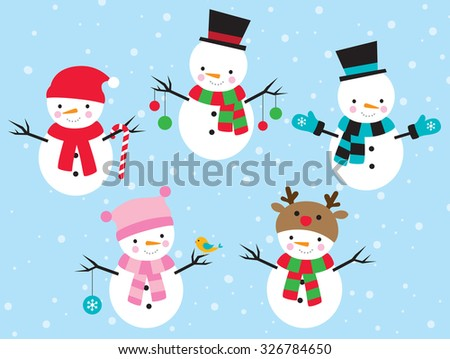 Vector illustration of snowman dress up in different costumes. - stock vector