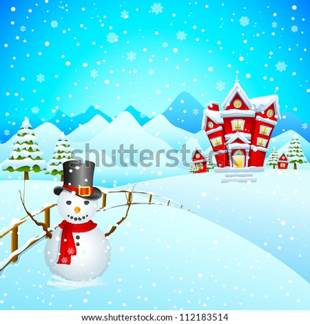vector illustration of snowman wishing Merry Christmas - stock vector