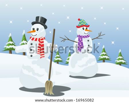 vector illustration of snowmen - stock vector