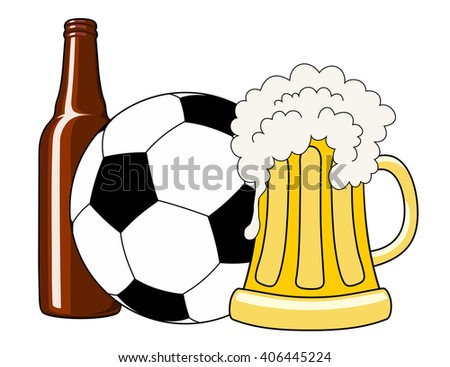 Vector illustration of soccer ball, beer bottle and tankard - stock vector