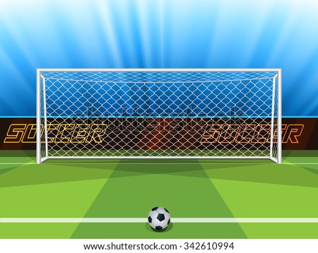 Vector illustration of soccer ball with field & goal posts in the abstract bacground - stock vector