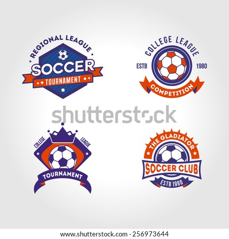 Vector illustration of soccer football crests and logo emblem banner badge designs  - stock vector