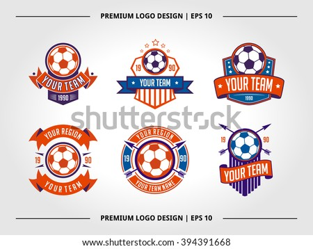 Vector illustration of soccer football crests and logo emblem banner badge designs perfect for soccer competition or soccer teams - stock vector