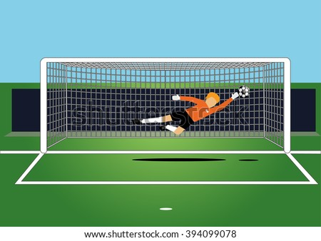 vector illustration of soccer goal keeper catching a ball on the field