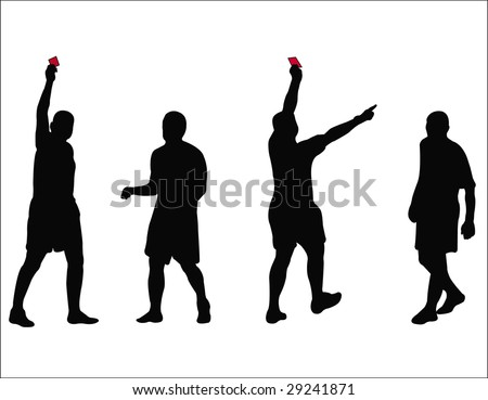 vector illustration of soccer referee showing the card to the player - stock vector