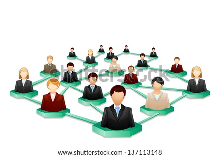 vector illustration of social human networking - stock vector