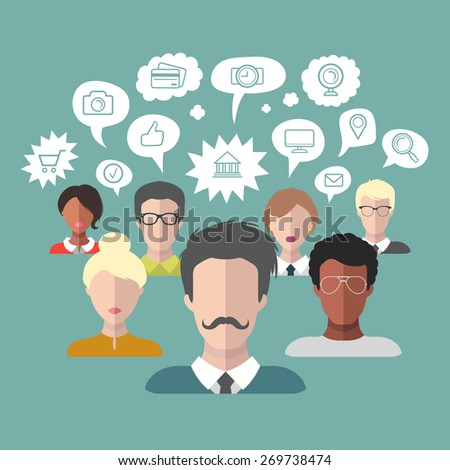 Vector illustration of social media icons in speech bubbles with group of people in trendy flat style - stock vector