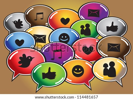 Vector illustration of social media network and computer icons and symbols in colorful shiny cartoon speech balloons.