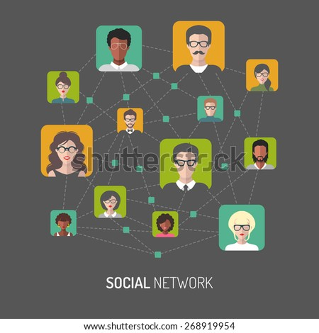 Vector illustration of social network, global people internet connection, people app icons in flat style - stock vector