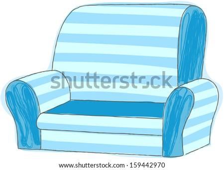 Vector illustration of sofa - stock vector