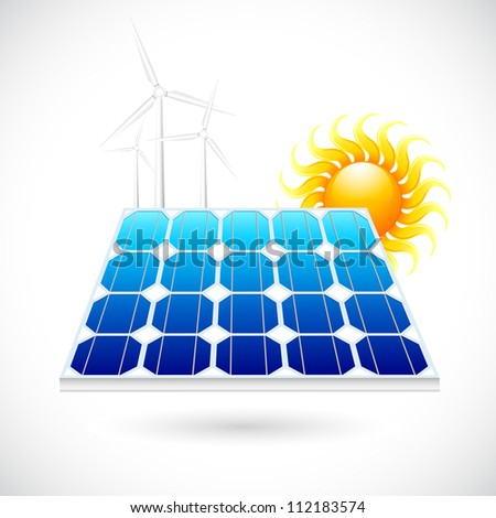 vector illustration of solar power panel  with bright sun - stock vector