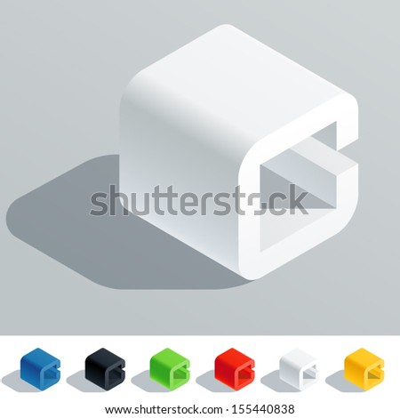 Vector illustration of solid colored letter in isometric view. Cube styled monospace characters. Symbol C - stock vector