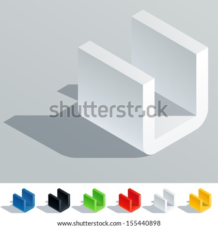 Vector illustration of solid colored letter in isometric view. Cube styled monospace characters. Symbol U - stock vector