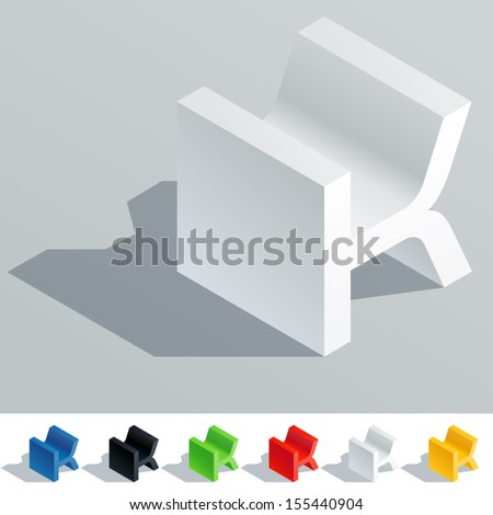 Vector illustration of solid colored letter in isometric view. Cube styled monospace characters. Symbol K - stock vector