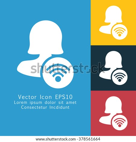 Vector illustration of solid female user connection  icon . Could be used as menu button, user interface element template, badge, sign, symbol, company logo